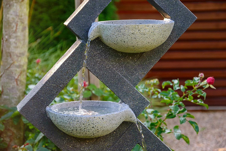 Grau XL-Brunnen mit 4 Wasserschalen aus Kunststein dobar Gro/ßer Design Gartenbrunnen mit Pumpe und LED/´s 41,5 x 20,5 x 100,5 cm