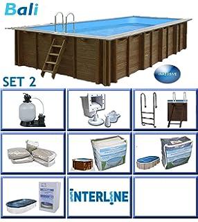 Interline 50700246 Bali Auf Und Erdeinbau POOLSET 2 Holzwand Rechteck Pool  7,90m X