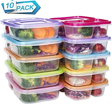 Amazon.com: Comida Prep contenedores 3 Compartimiento ...