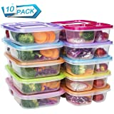 Meal Prep Containers 3 Compartment Food Storage Reusable Plastic Bento Microwavable Lunch Boxes with Lids BPA-Free 10-Pack ,Stackable Dishwasher & Freezer Safe ,Portion Control,32oz