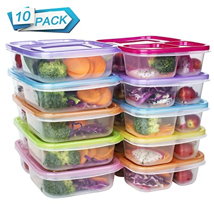 Amazon Com Meal Prep Containers 3 Compartment Food Storage Reusable