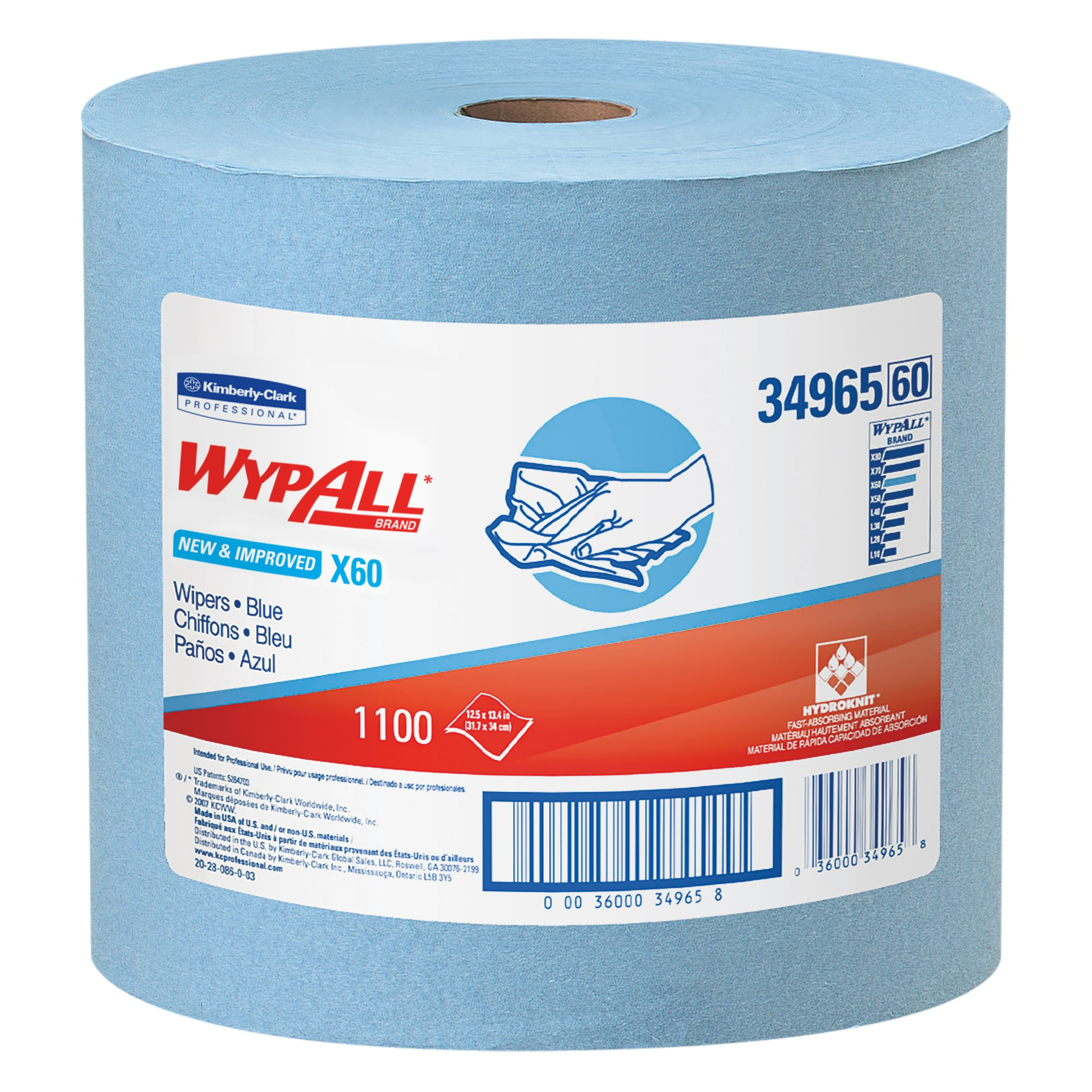 Wypall X60 Reusable Cloths (34965), Blue, Jumbo Roll, 1100 Sheets/Roll, 1 Roll/Case