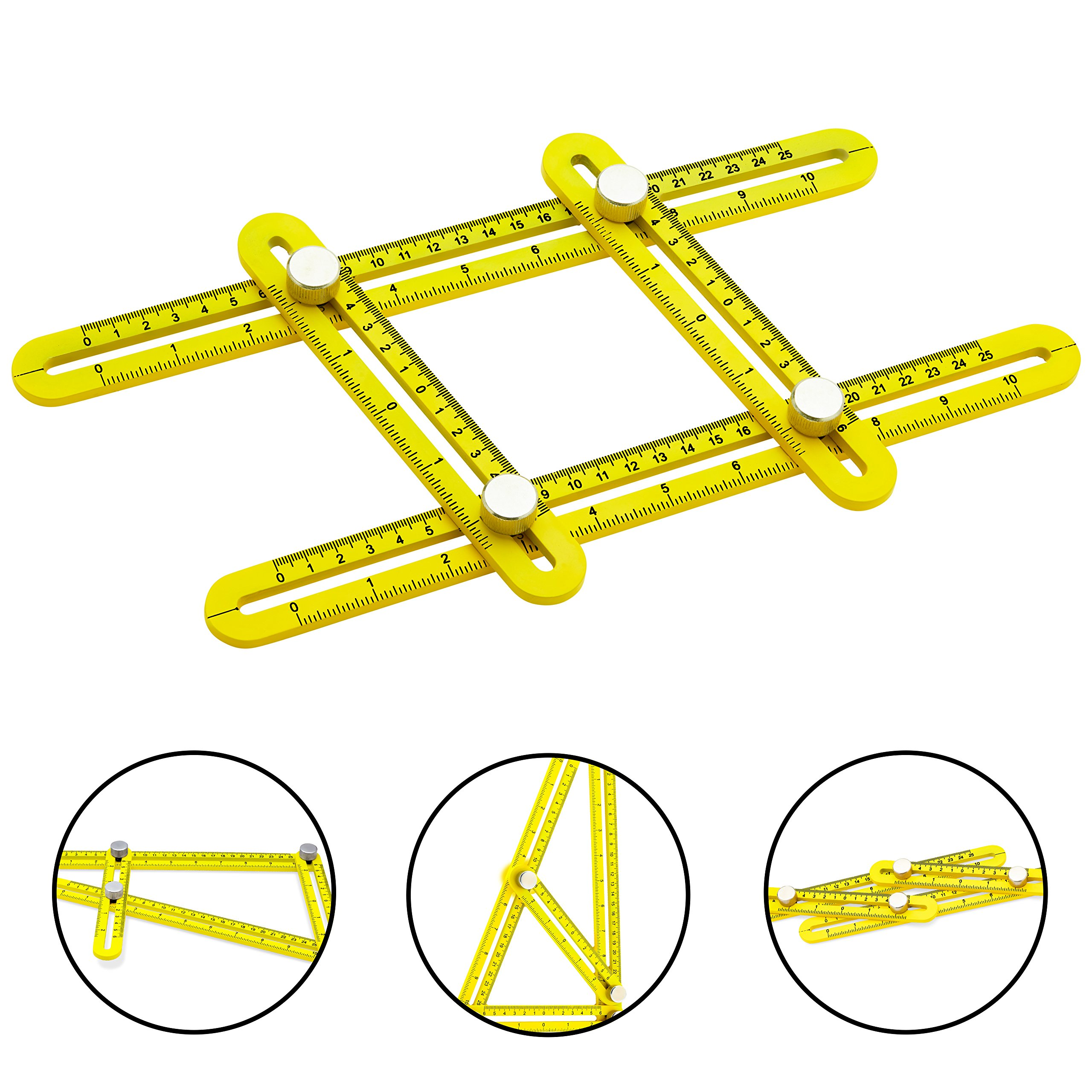 Universal Angularizer Ruler and Multi-Angle Measuring Tool in Yellow Metal - Template Tool Makes Great Gifts for Men Him Husband Dad Father DIY