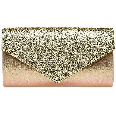 84bdd0ae32b58 Caspar TA517 Damen kleine elegante Envelope Glitzer Clutch Tasche  Abendtasche