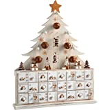 WeRChristmas Wooden Tree Advent Calendar Christmas Decoration, 40 cm - Natural Beige
