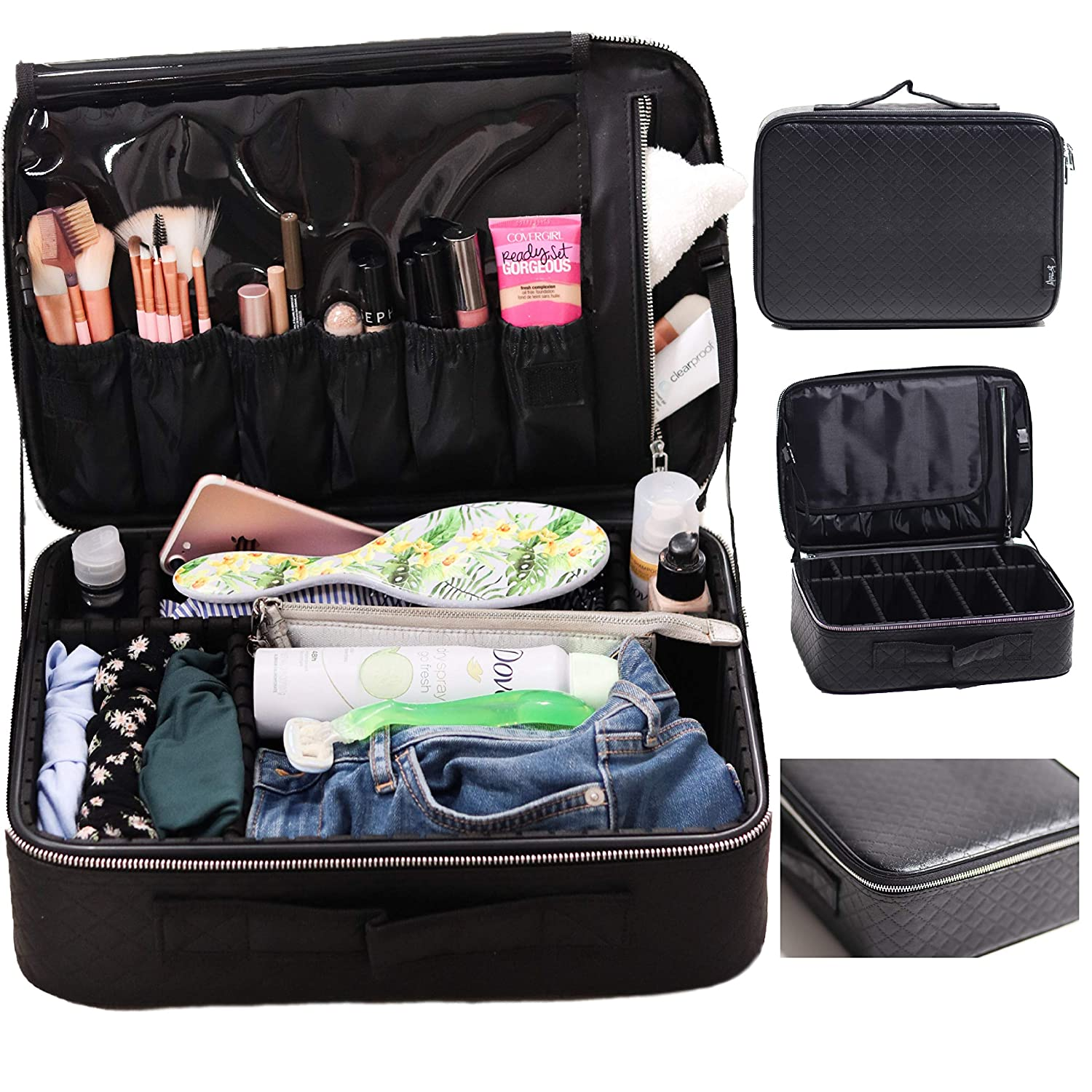 Travel Makeup Train Case by Beauty by MDH – Professional Artist Organizer Cosmetic bag with portable storage for Makeup brushes and jewelry – Women Large Black Waterproof toiletry- adjustable dividers