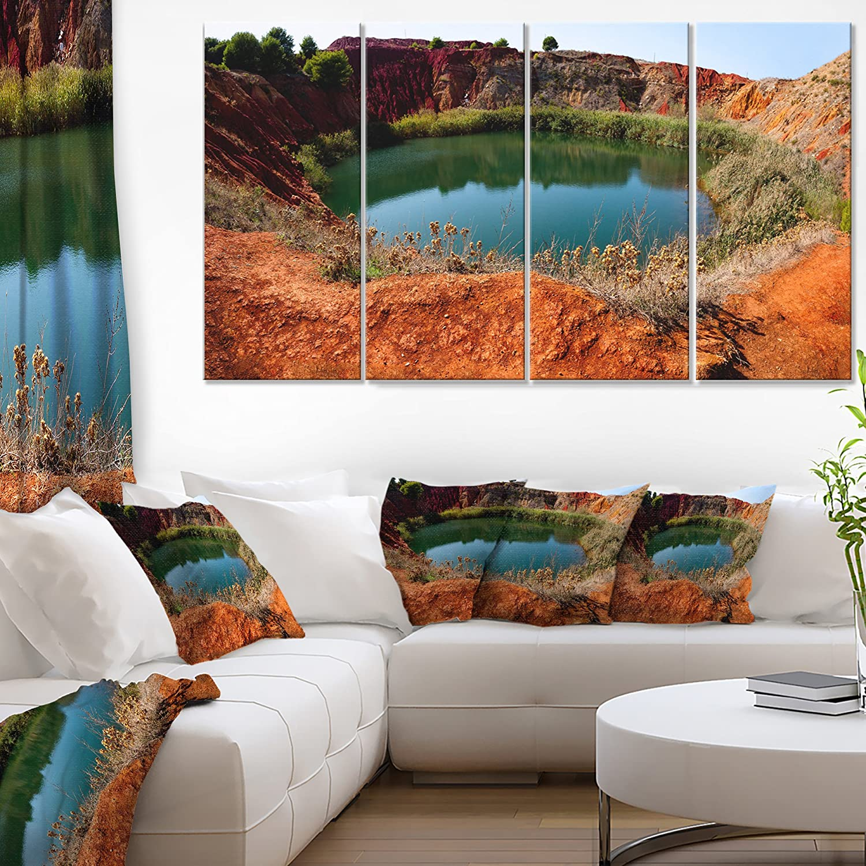 Amazon Com Designart Bauxite Mine With Lake Landscape Photo Canvas Art Print 48x28 4 Piece 28 H X 48 W X 1 D 4p Blue Home Kitchen