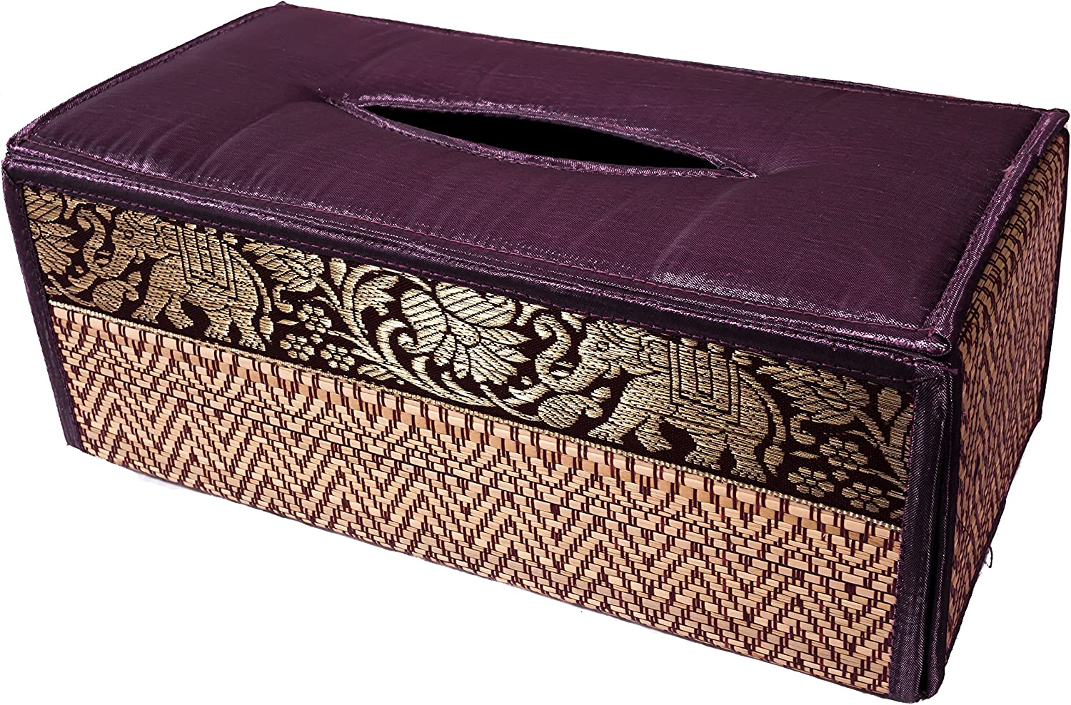 CCcollections Tissue Box A Cover case Sheath Natural Reed Wicker ECO Sustainable Material Plush Silk Trim Elephant Side (Purple Violet)