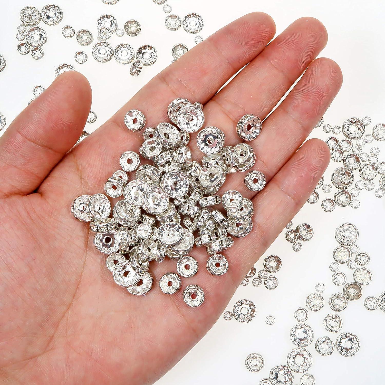 TOAOB 400 St/ück Metallperlen Mix Zwischenperlen mit Strasssteinen Spacer Perlen Silber 4mm bis 10mm f/ür Schmuckherstellung