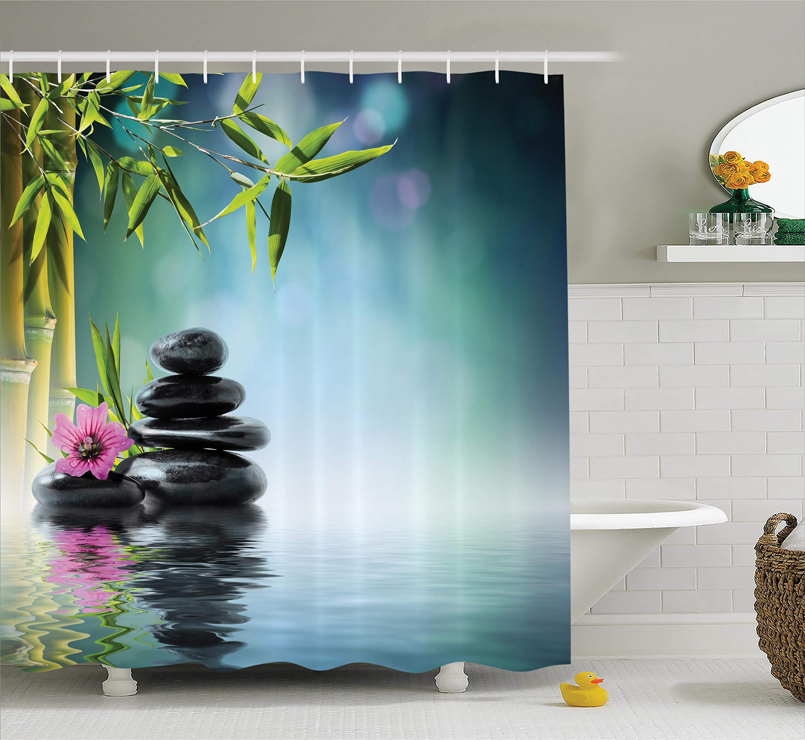 Ambesonne Spa Decor Shower Curtain Set, Tower Stone and Hibiscus with Bamboo On The Water Blurred Background, Bathroom Accessories, 69W X 70L Inches