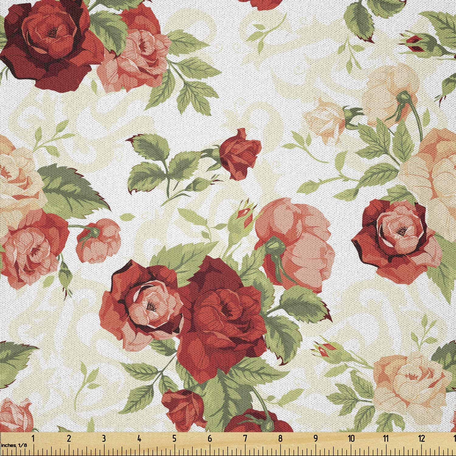 55 Inches Wide Roses By the Yard 96829-1 Eco-friendly Laminated Waterproof Fabric Non-glossy TPU Coating Flowers Ivory Pink or Blue