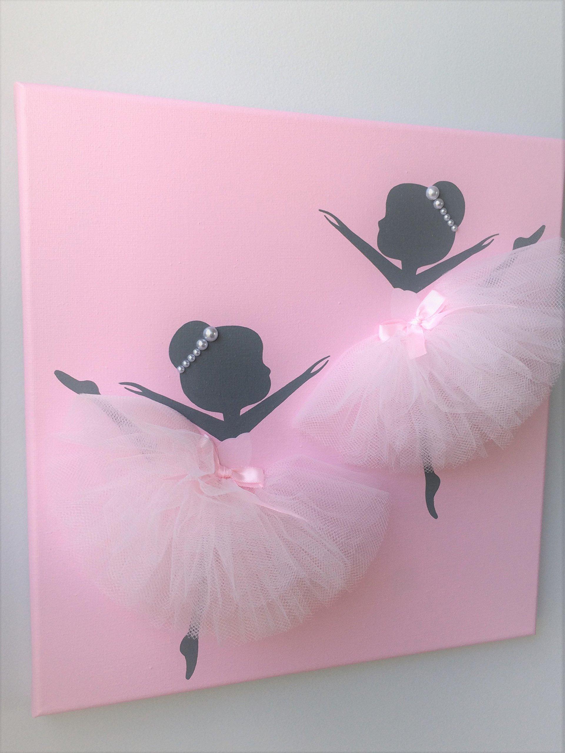 Ballerina painting. Pink ballerina canvas.