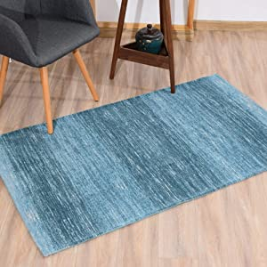 AMIDA - Blue Entryway Rug Washable Non-Slip Backing - 3'×5' Contemporary Modern Abstract Stripe Door Mat Turquoise and Dark Green- Flat Weave - Easy Care,Available for Kitchen and Bedroom