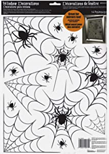 Amscan Halloween Spiders and Webs Vinyl Window Clings 14 Pieces