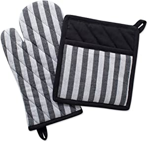 DII Cotton Heat Resistant Kitchen Pot Holder and Oven Mitt Set Farmhouse Chic Geometric Design, Machine Washable for Every Home, (Potholder 8x8.5, Ovenmitt 6.5x12), Stripe
