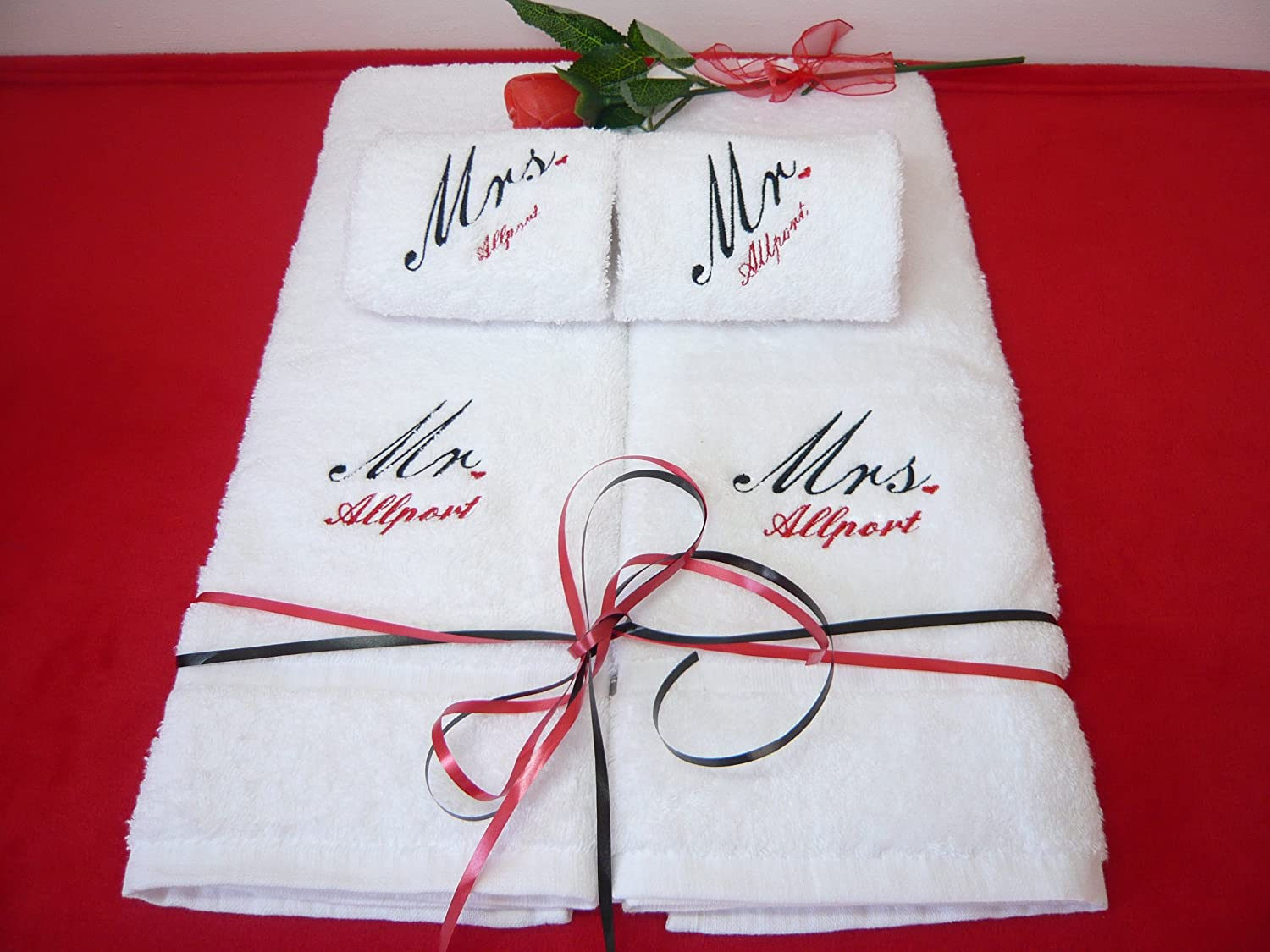 Wedding gift personalised towel set amazon kitchen home negle Images