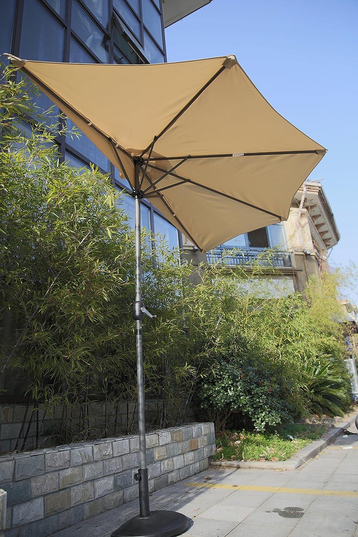 Beige Angel Living Halber Sonnenschirm f/ür Balkon 270cm Aluminium Balkonsonnenschirm Halbrund mit 9kg Halbrund Sonnenschirmst/änder