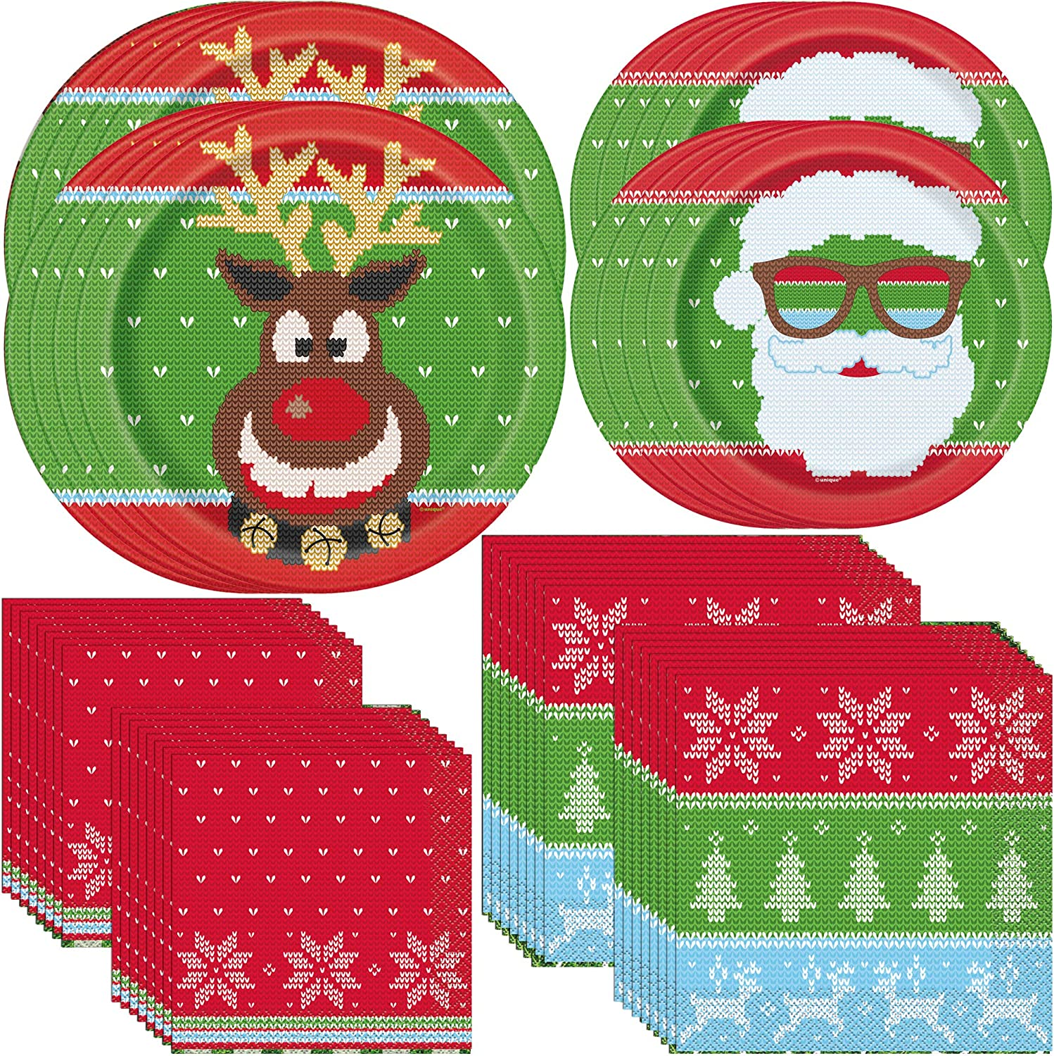 Unique Ugly Sweater Christmas Party Bundle | Luncheon & Beverage Napkins, Dinner & Dessert Plates | Christmas Table Supplies, Party Decoration