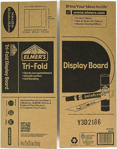 Elmer S Tri Fold Display Board White 14x22 Inch