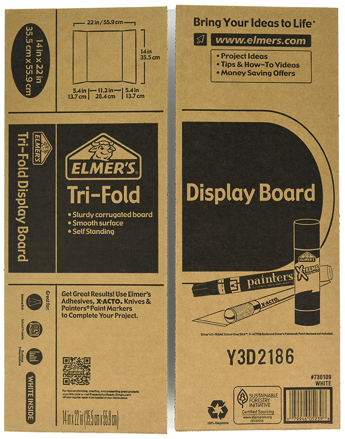 Amazon.com: Elmer's Tri-Fold Display Board, White, 14x22 Inch: Office  Products