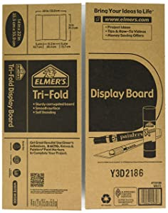 Elmer's Tri-Fold Display Board, White, 14x22 Inch