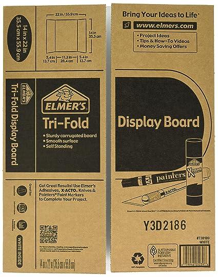 amazon com elmer s tri fold display board white 14x22 inch