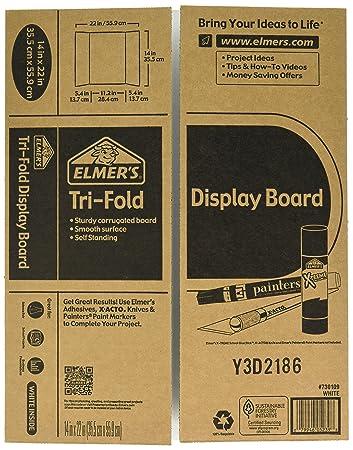 Elmers Tri-Fold Display Board, 14 X 11-Inch, White, 2