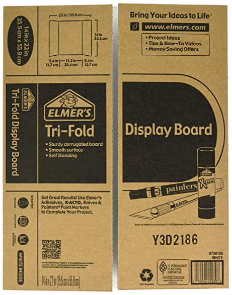 Elmers Tri Fold Display Board, 14 X 11 Inch, White, 2