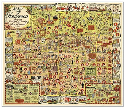 Map Of California Hollywood.Amazon Com Hollywood California Map Of The Stars Circa 1928