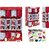 Toyland Pack von 12 Christmas Crackers mit Briefkasten & Red Bus Design - British Christmas Theme