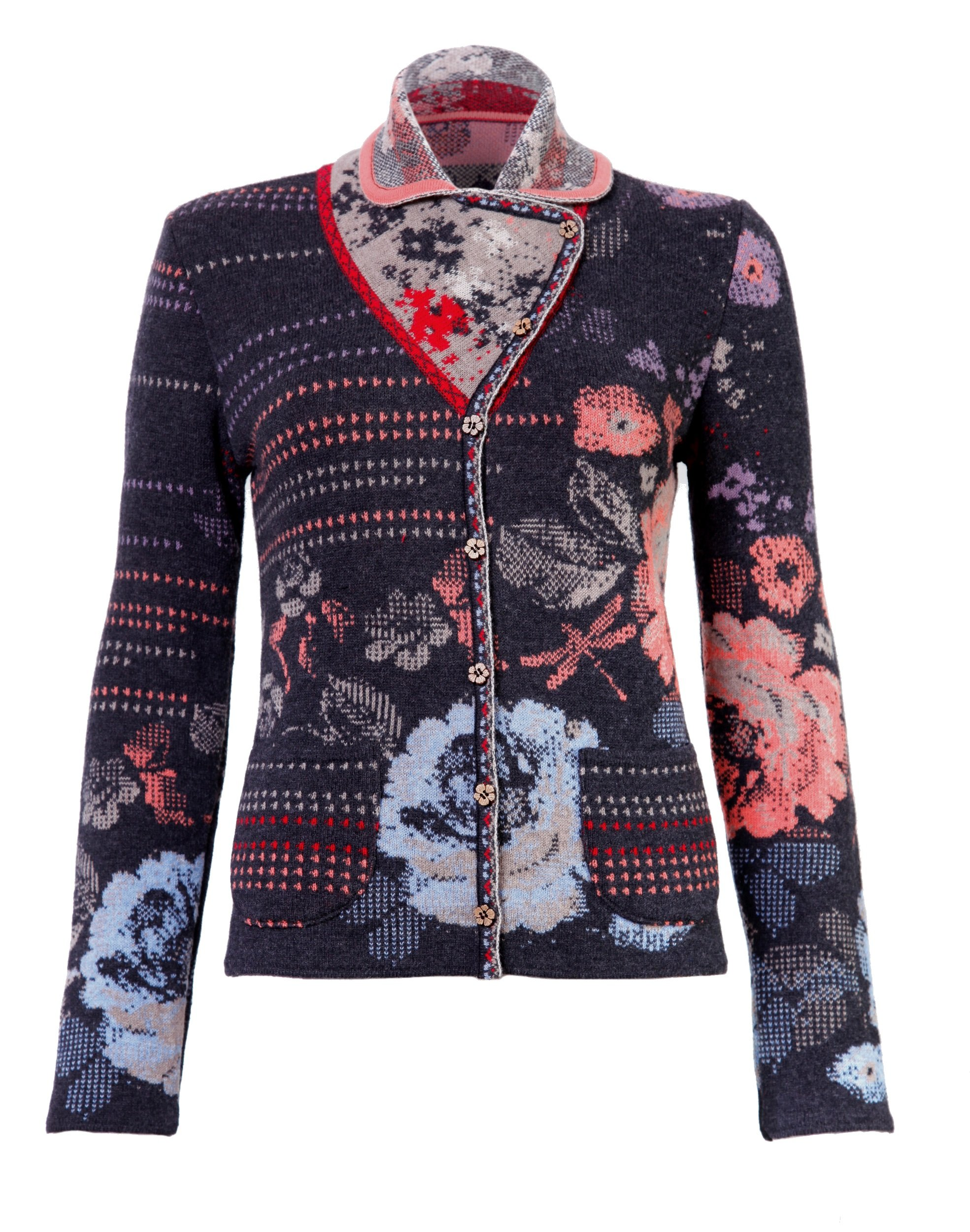 IVKO Short Lambswool Sweater wth Floral Pattern, Front Button Closure, Charcoal Grey, US 10 - EUR 40