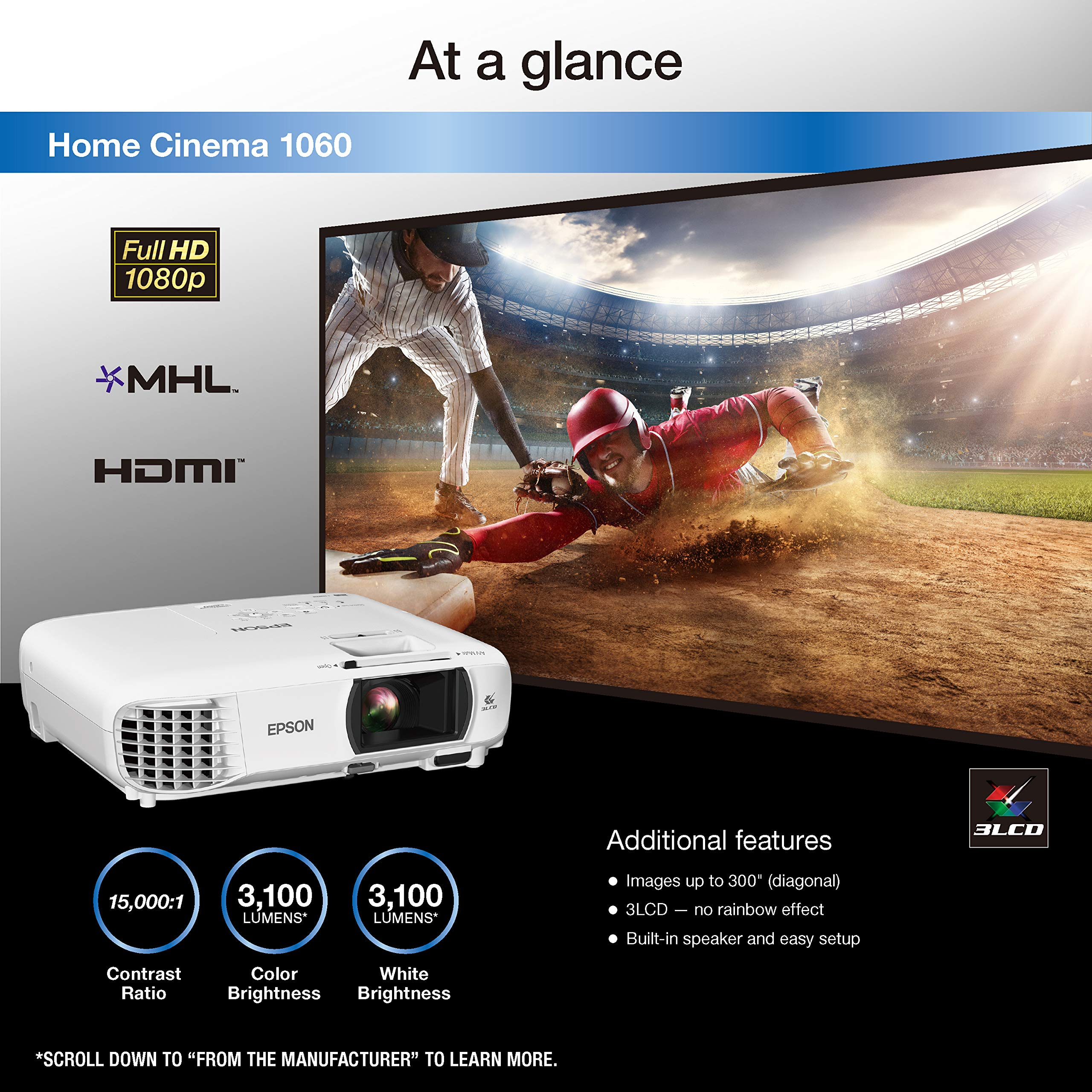 Epson Home Cinema 1060 Full HD 1080p 3,100 lumens Color Brightness (Color Light Output) 3,100 lumens White Brightness (White Light Output) 2X HDMI (1x MHL) Built-in Speakers 3LCD Projector (Renewed) by Epson (Image #2)