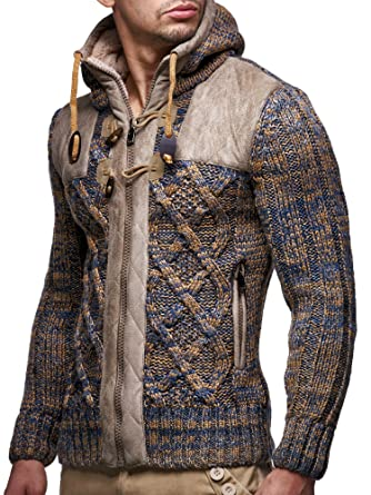 Leif Nelson Ln20525 Men's Knit Zip Up Jacket With Geometric Patterns And Leather Accents by Leif+Nelson