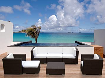 Outdoor Patio Sofa Sectional Wicker Furniture 7pc Resin Couch Set