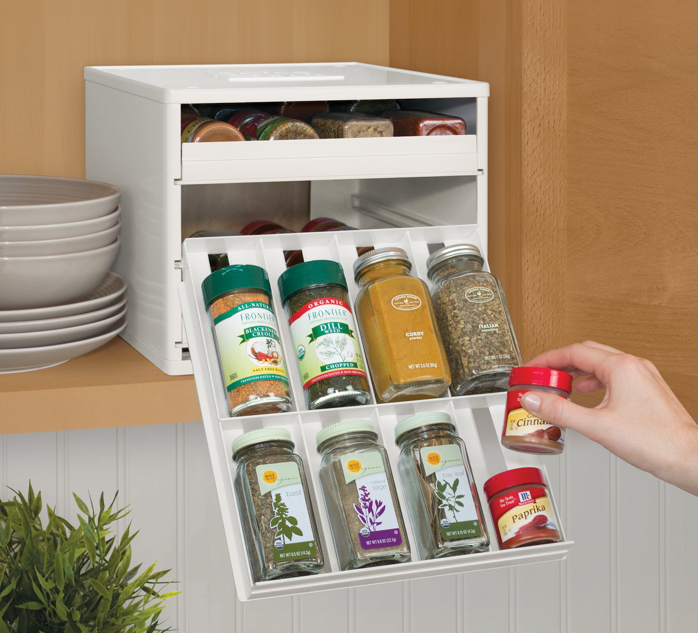 YouCopia Classic SpiceStack 24-Bottle Spice Organizer with Universal Drawers, White by YouCopia (Image #5)