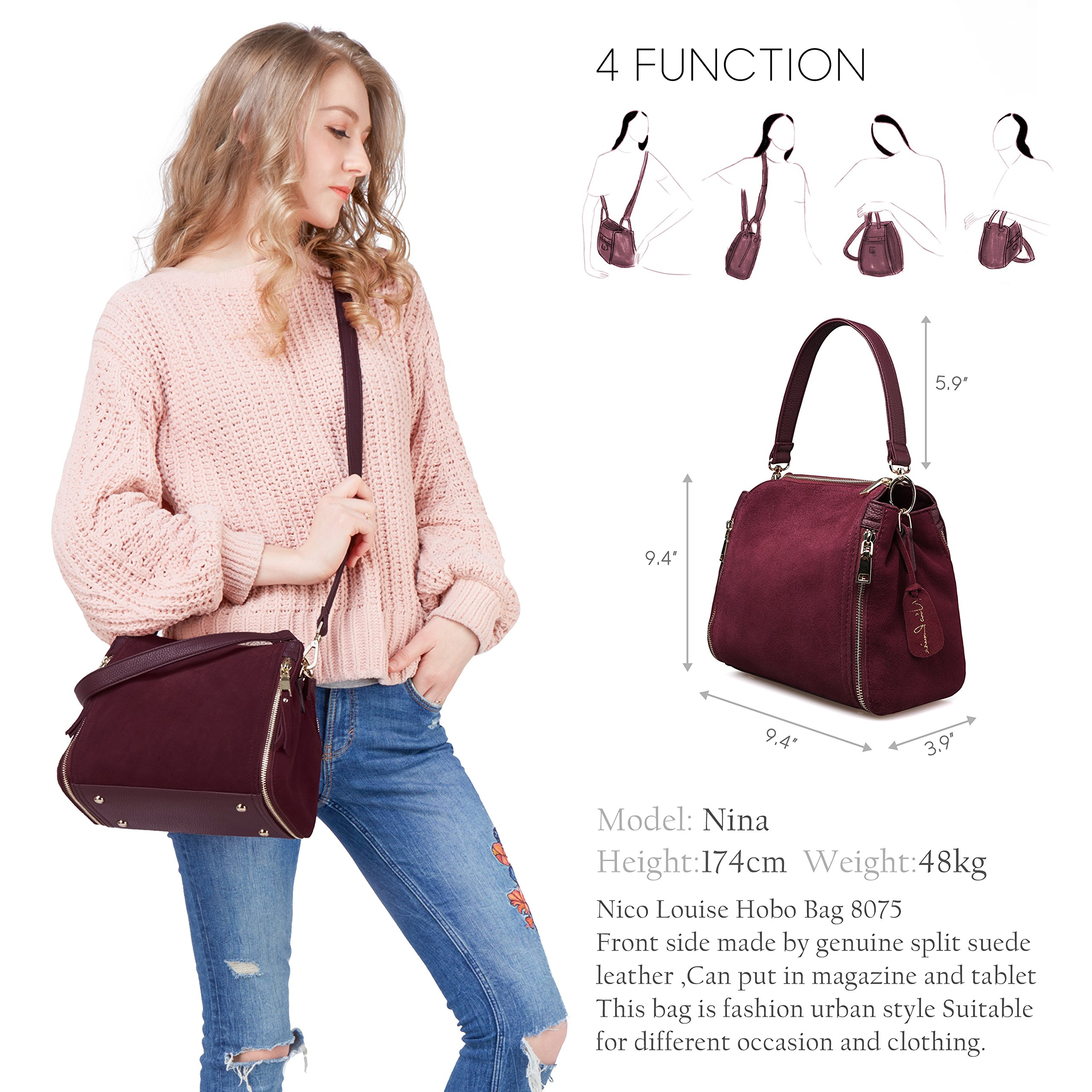 Women Real Suede Leather Shoulder Bag Leisure Doctor Handbag For Female Girls Top-handle (Burgundy) by Nico louise (Image #2)