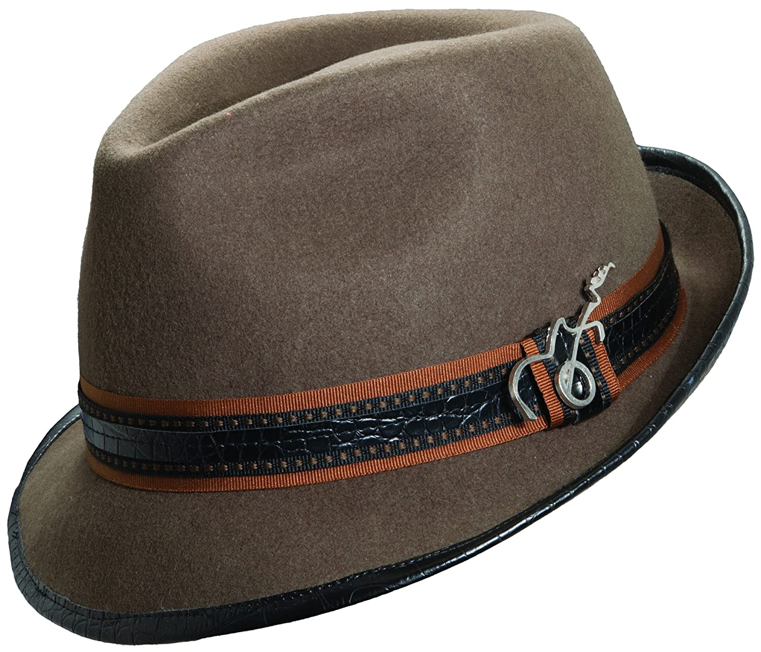 a4f5b42f6377e Carlos Santana Wool Felt Fedora with Guitar Pin - Meditation (SAN216) at  Amazon Men s Clothing store