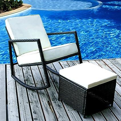EFD Rattan Rocking Chair U0026 Footstool Set Outdoor Relaxing Patio Lawn Garden  Poolside Furniture Ottoman Coffee