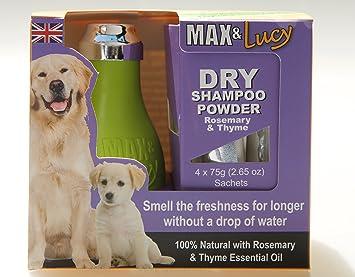 Max & Lucy Champú para perro seco, natural con aceites esenciales rosemarios y thyme