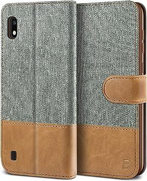 BEZ Funda Samsung Galaxy A10, Carcasa Compatible para Samsung A10 Libro de Cuero con Tapas y Cartera, Cover Protectora con Ranura para Tarjetas y Billetera, Cierre Magnético, Gris: Amazon.es: Electrónica