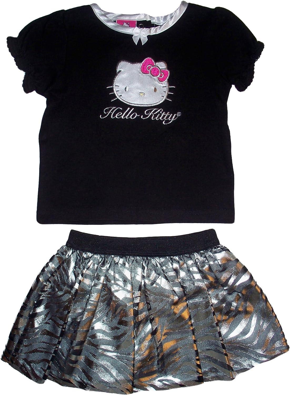 Hello Kitty Infant Girls 2pc Black//Silver Scooter Skirt Set