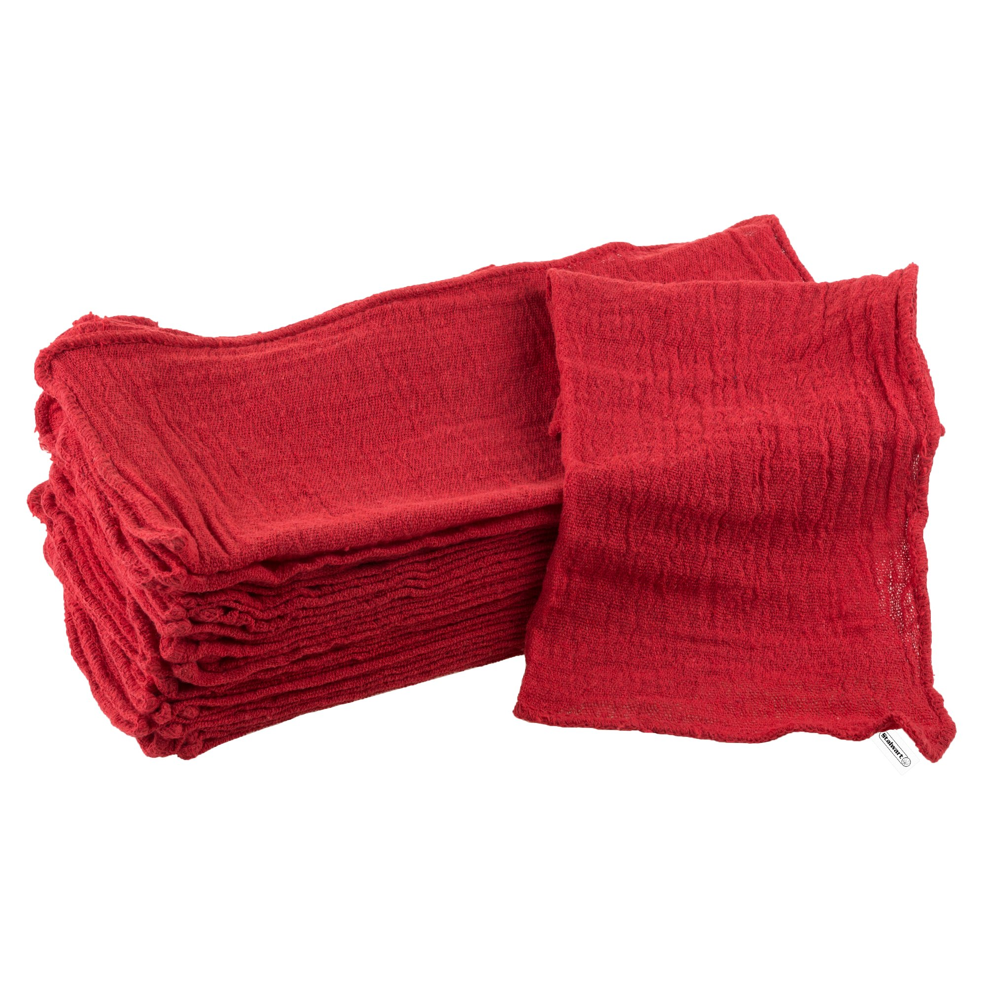 Stalwart Auto Shop Towels, 100% Cotton Rags Absorbent for Auto Shops, Mechanics, Car Wash, Garage and Home Cleaning Supplies- 25 Pack, By (Red)