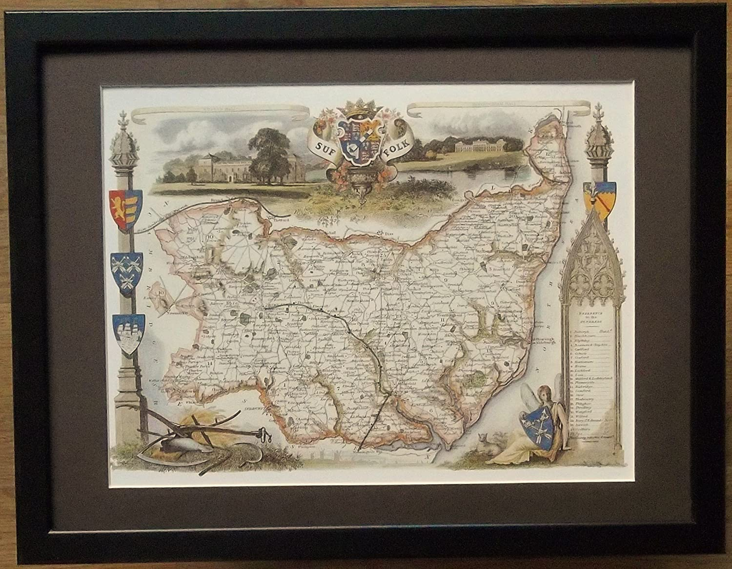 Framed and Mounted County Map - 12'' x 16'' frame, Suffolk Map framed print