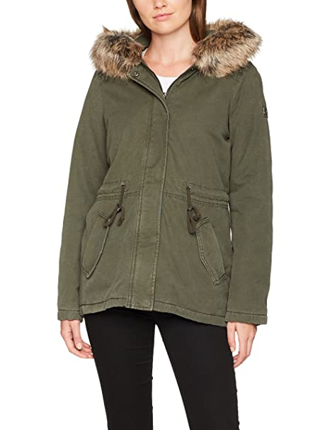TOM TAILOR Denim Damen Cotton Parka with Fur Collar Jacke