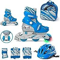 JAMBACH Kinder Inliner Inline Skates für Anfänger verstellbar Set Triskates mit Schutzset Helm Rucksack Rollschuhe Mädchen Jungen