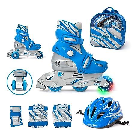 JAMBACH Kinder Inliner Inline Skates für Anfänger verstellbar Set Triskates mit Schutzset Helm Rucksack Rollschuhe Mädchen Ju