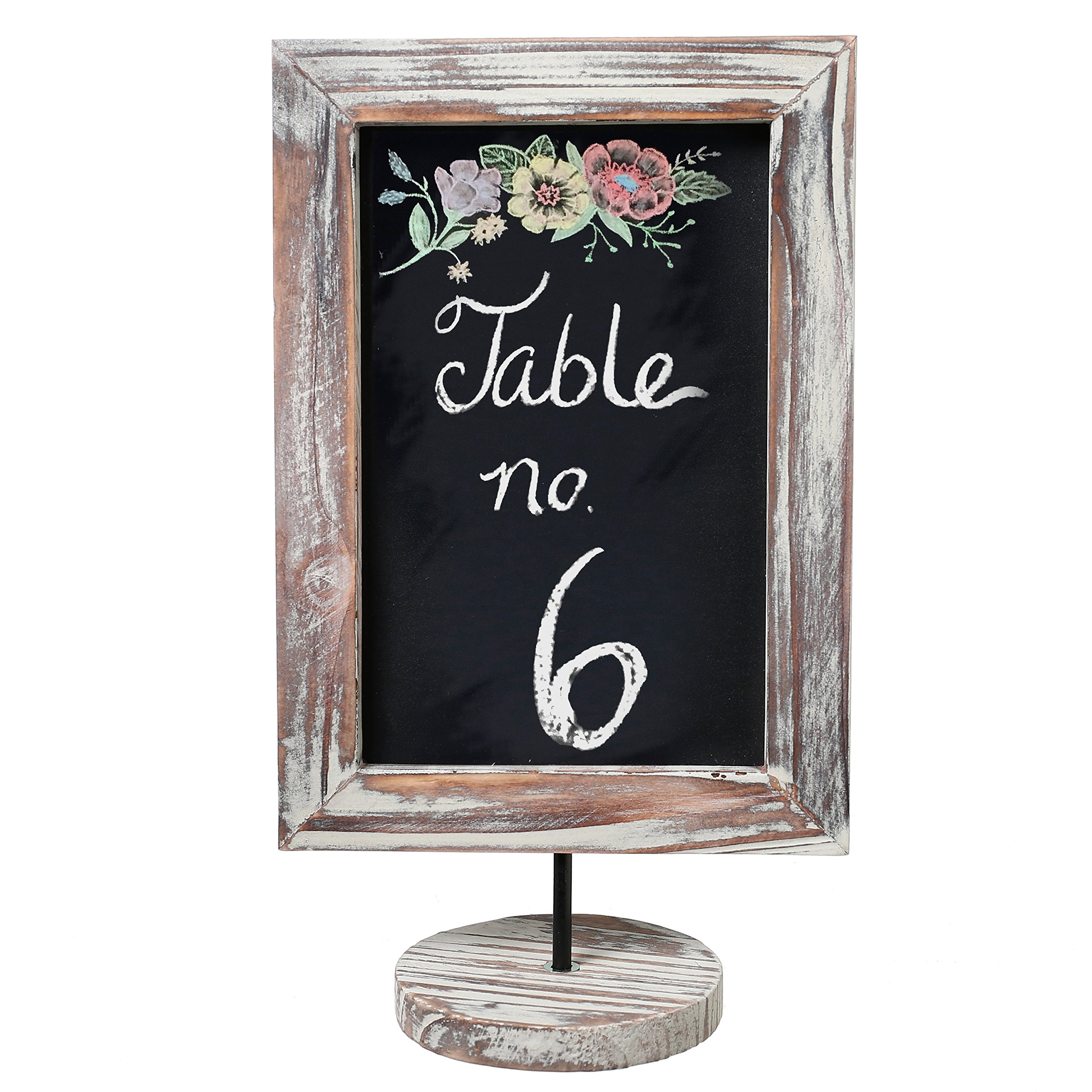 12 Inch Small Rustic Torched Wood Framed Tabletop Memo & Message Chalkboard, Cafe Menu Board Sign