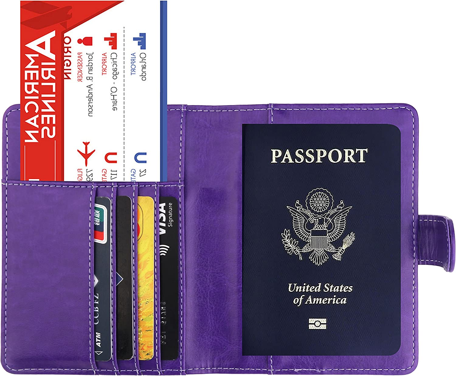 LEXER Travel Passport Cover Case with Storage Pocket Grey Marble Leatherette