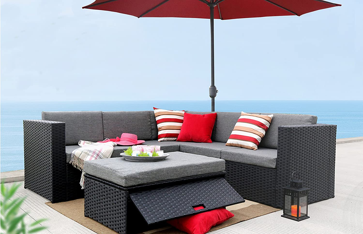 Amazon.com: Baner Garden (K35 4 Pieces Outdoor Furniture Complete Patio  Wicker Rattan Garden Corner Sofa Couch Set, Full, Black: Kitchen U0026 Dining
