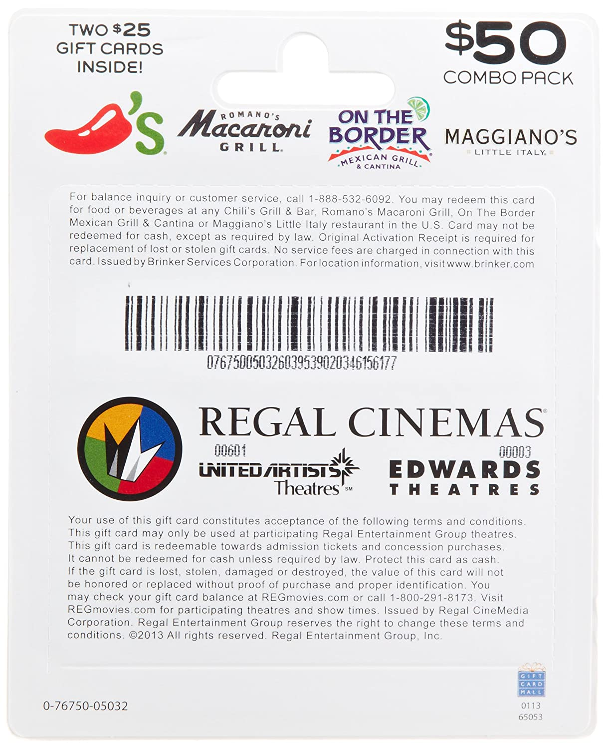 Amazon Brinker Regal Entertainment Movie A Meal Gift Cards